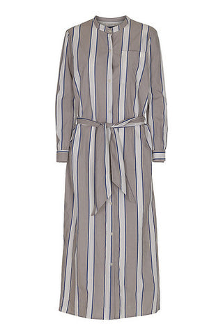 Poplin Shirt Dress With Buttons Stripe