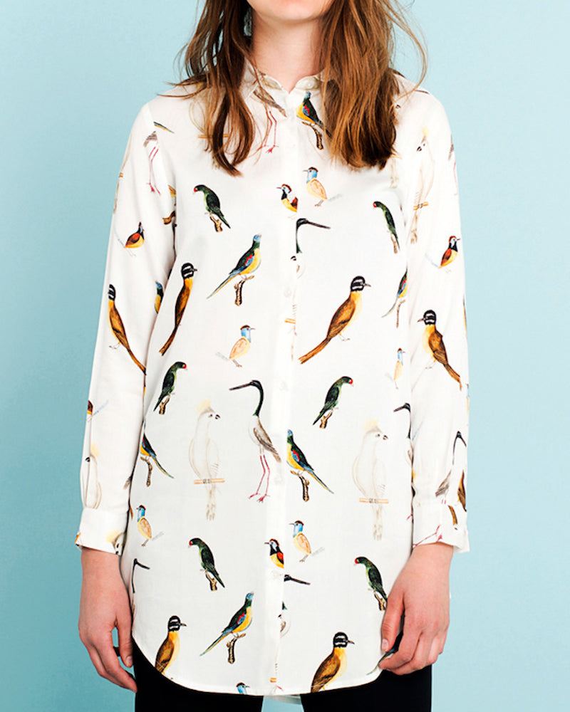 Shirt Fredericia Drawn Birds White