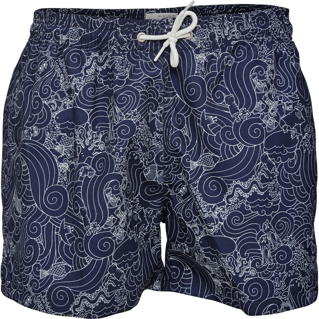 Swim shorts w/waste print peacoat from Charlie + Mary