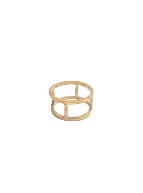Studio jux cage ring in recycled brass
