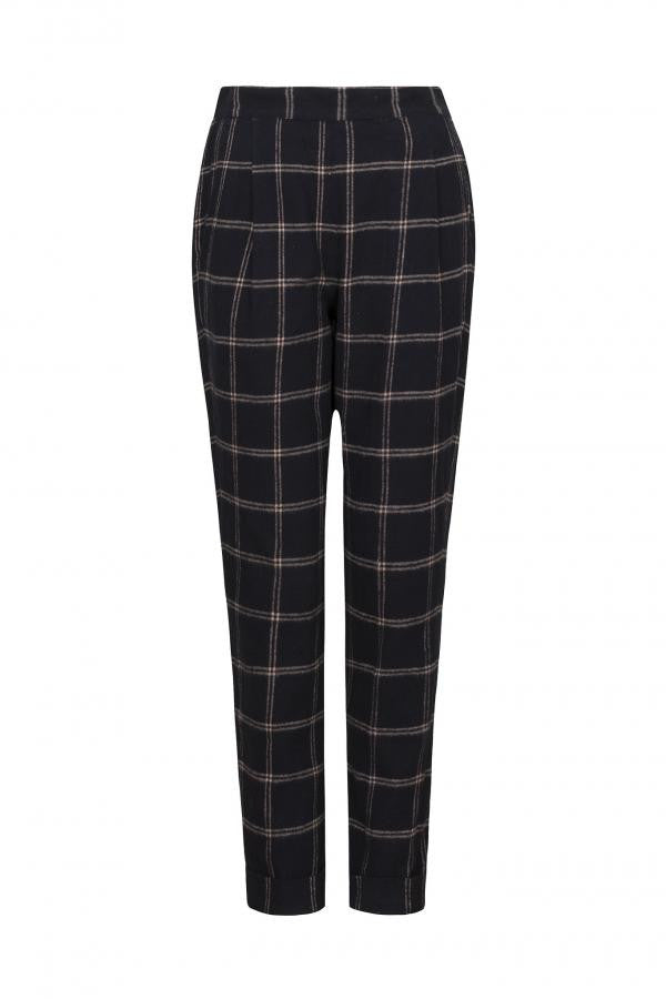 Miriam checked trousers navy blue