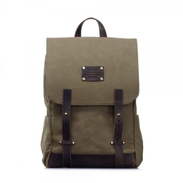 O My Bag Mau's Backpack Olive green Waxed Canvas organic cotton