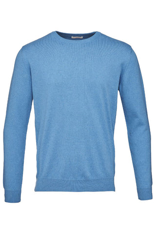 KnowledgeCotton Apparel basic o-neck knit sweater deep water blue