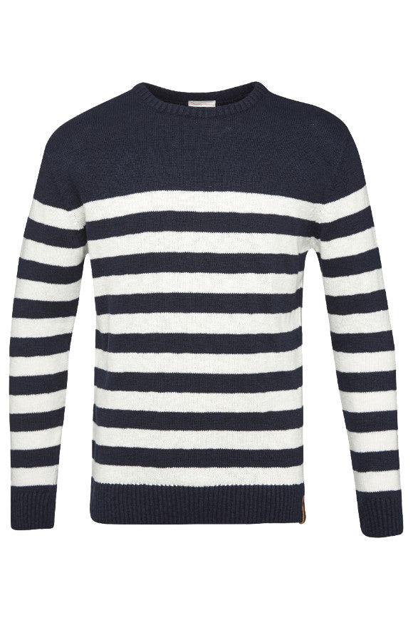 Striped slope round neck knit total eclipse from Charlie + Mary