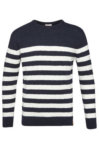 KnowledgeCotton Apparel Striped slope round neck knit total eclipse blue