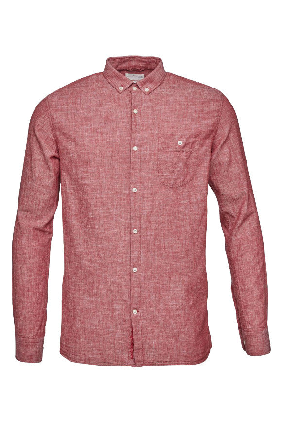 KnowledgeCotton Apparel Cotton/Linen shirt high risk red