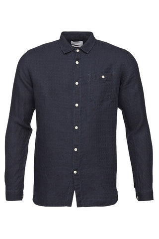 KnowledgeCotton Apparel Denim look linen shirt washed deep blue