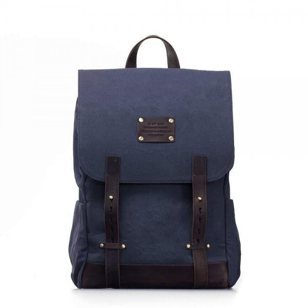 O My Bag Mau's Backpack Navy Waxed Canvas organic cotton
