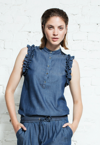 Tencel Denim Volant Blouse Blue