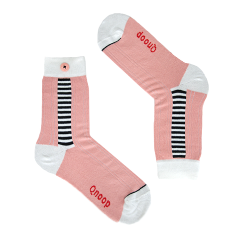 Qnoop Side stripe coral pink socks organic cotton
