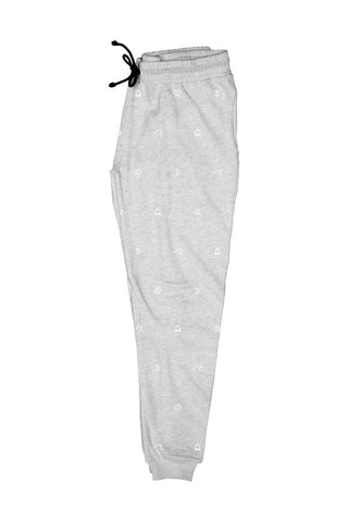 Dedicated Lund camp pattern grey melange joggers