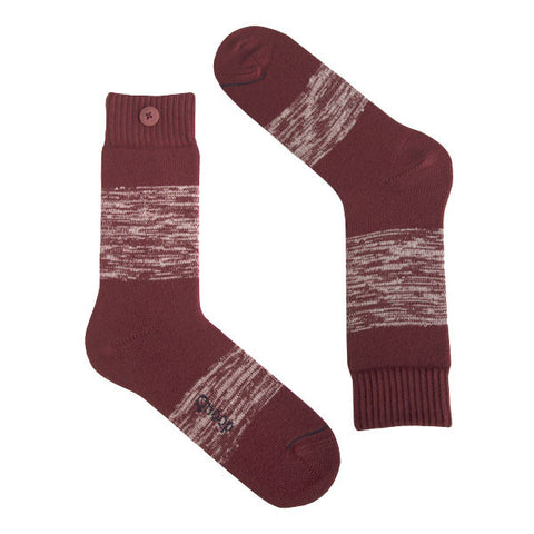 Qnoop Heavy Twisted stripe syrah bordeaux socks organic cotton