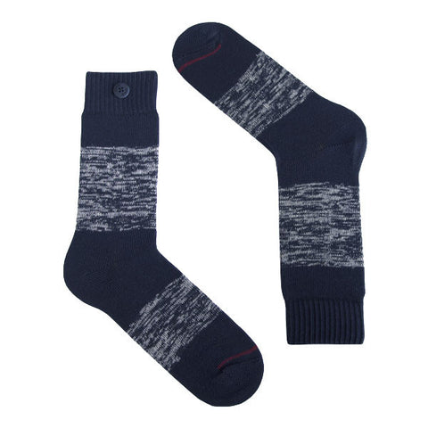 Qnoop Heavy Twisted stripe navy socks organic cotton