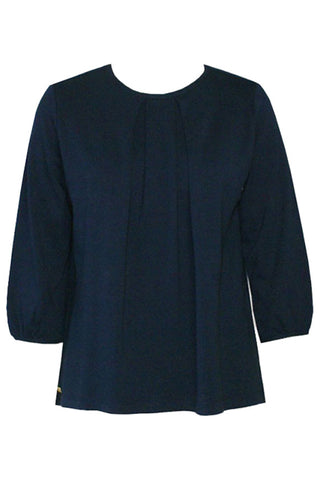 Studio Jux folded top dark blue in wood silk