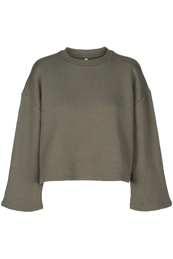 Special crop top sweat reversed Army washed