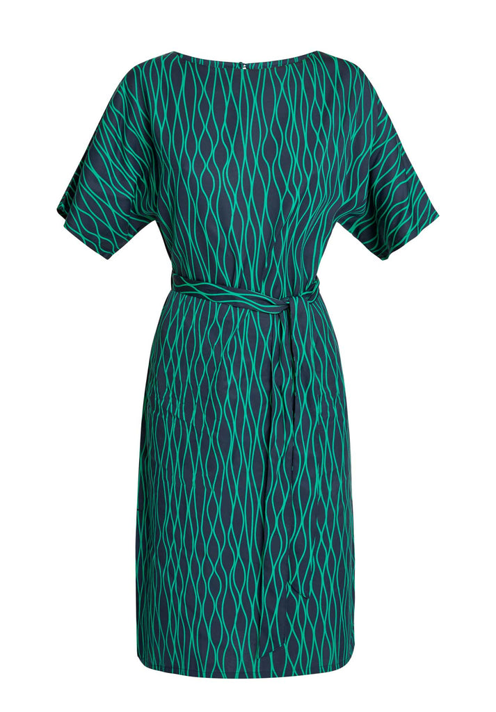Alaina Abstract Dress Navy/Green from Charlie + Mary
