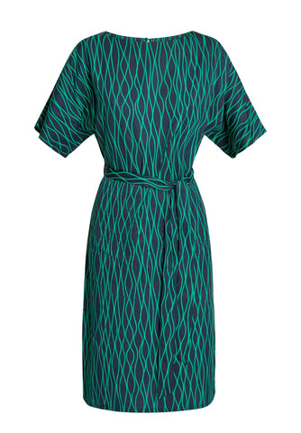 Alaina Abstract Dress Navy/Green