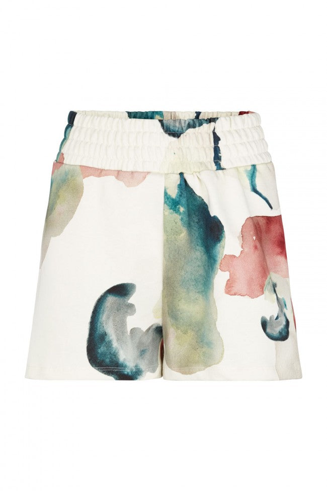 Basic High Waist Shorts Water Flower