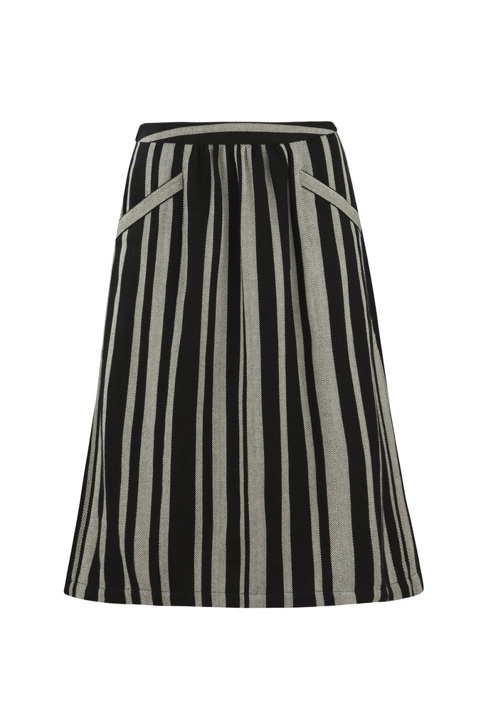 Hesper stripe skirt black