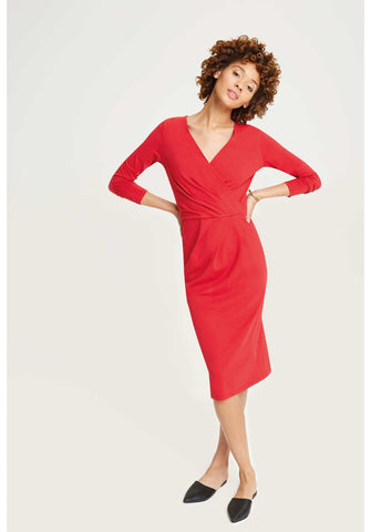 Irene Wrap Dress Red