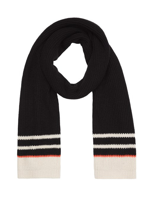 Knit stripe scarf Black from Charlie + Mary