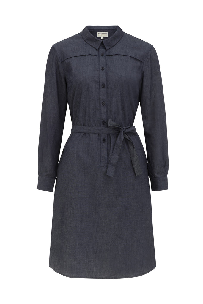 Laurel chambray shirt dress blue