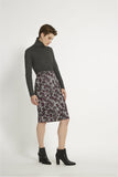 Printed Ripley pencil skirt grey/burgundy