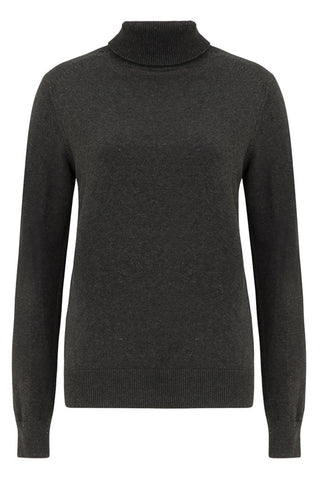 Sarah Roll Neck Jumper in Dark grey melange