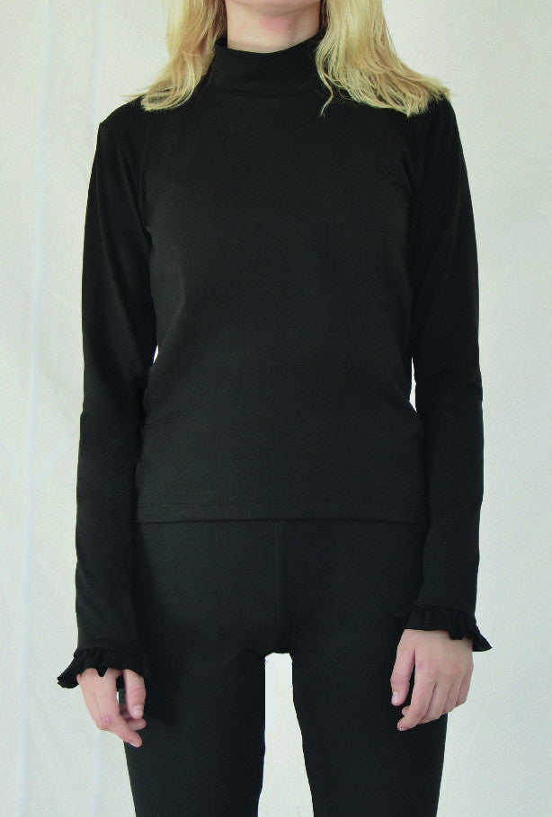 High neck ruffle longsleeve black from Charlie + Mary