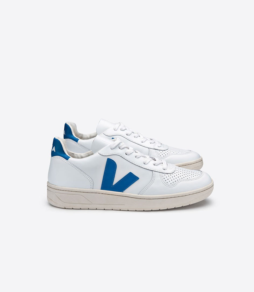 Men's V10 Leather Extra White Swedish Blue from Charlie + Mary