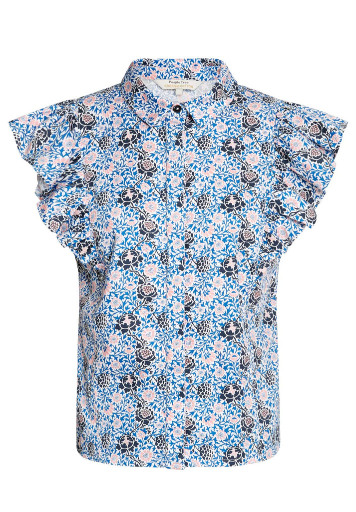 V&A Grafton Frill Shirt Blue Multi