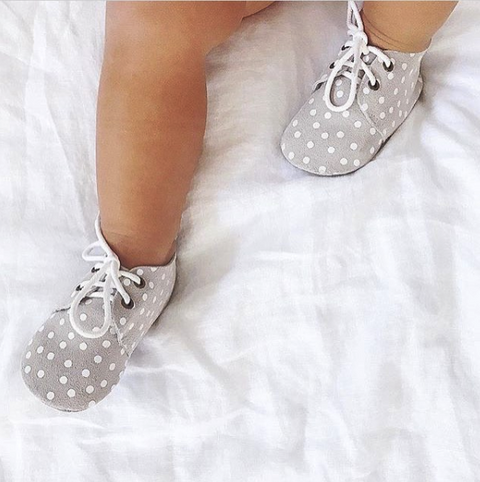 Baby Booties - Grey with White Spots