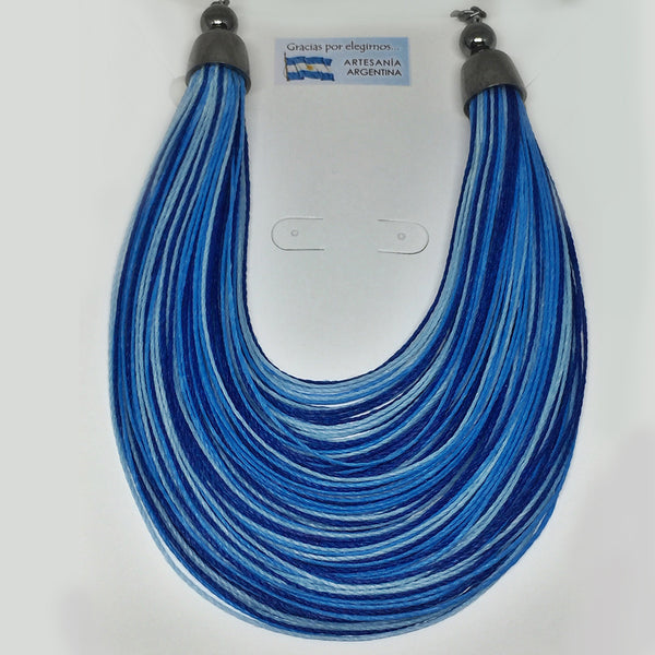 Multicolor Thread Necklace- Blue