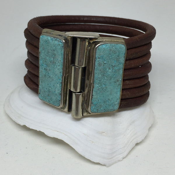 Brown Leather Silver Cuff w/ Chrysocolla Panels (South American Turquoise)