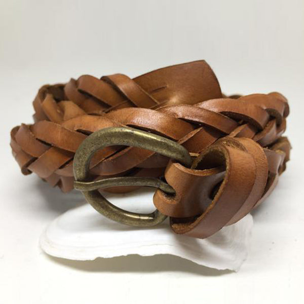 Light Brown Braided Leather Belt