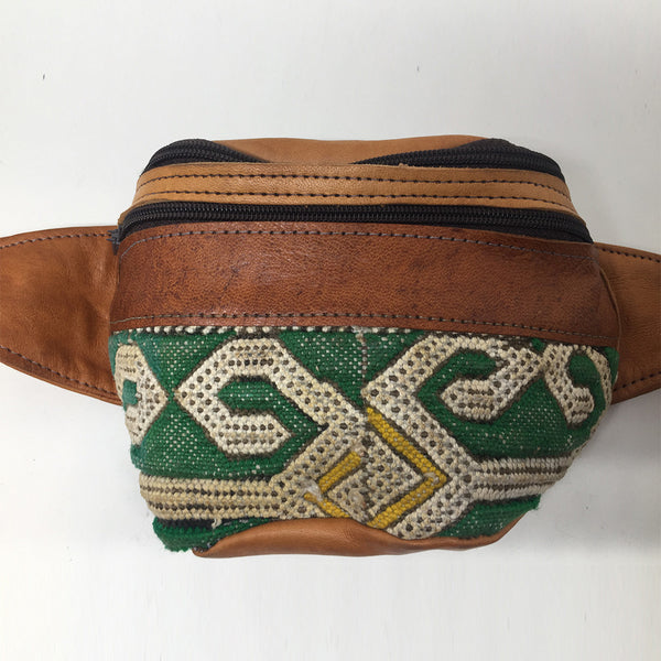 Tan Leather + Bedouin Carpet Fanny Pack