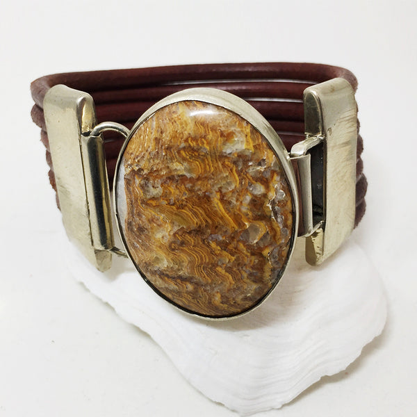 Brown Leather Silver Cuff w/ Oval Jasper