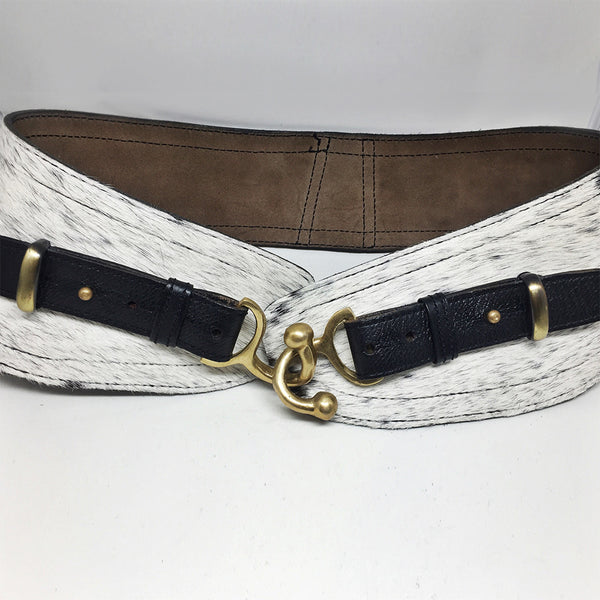 Black and White Speckle Cowhide Suede Belt w/ Brass Fasteners