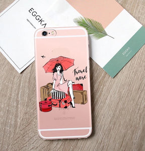 Travel Girl Transparent iPhone Case