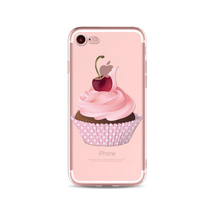 Dark Cherry Cupcake Transparent iPhone Case