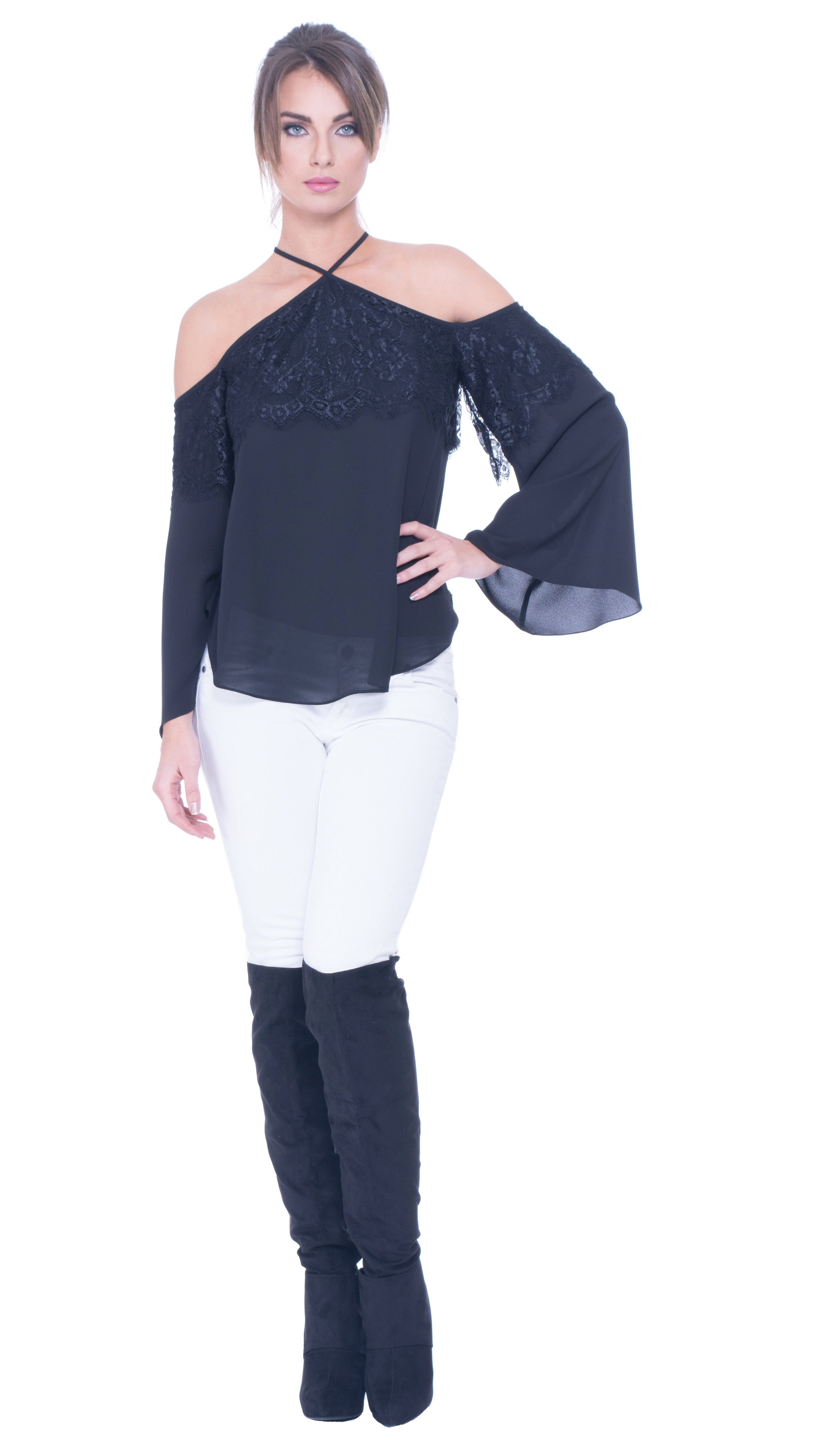 Barke Lace Cold Shoulder Top