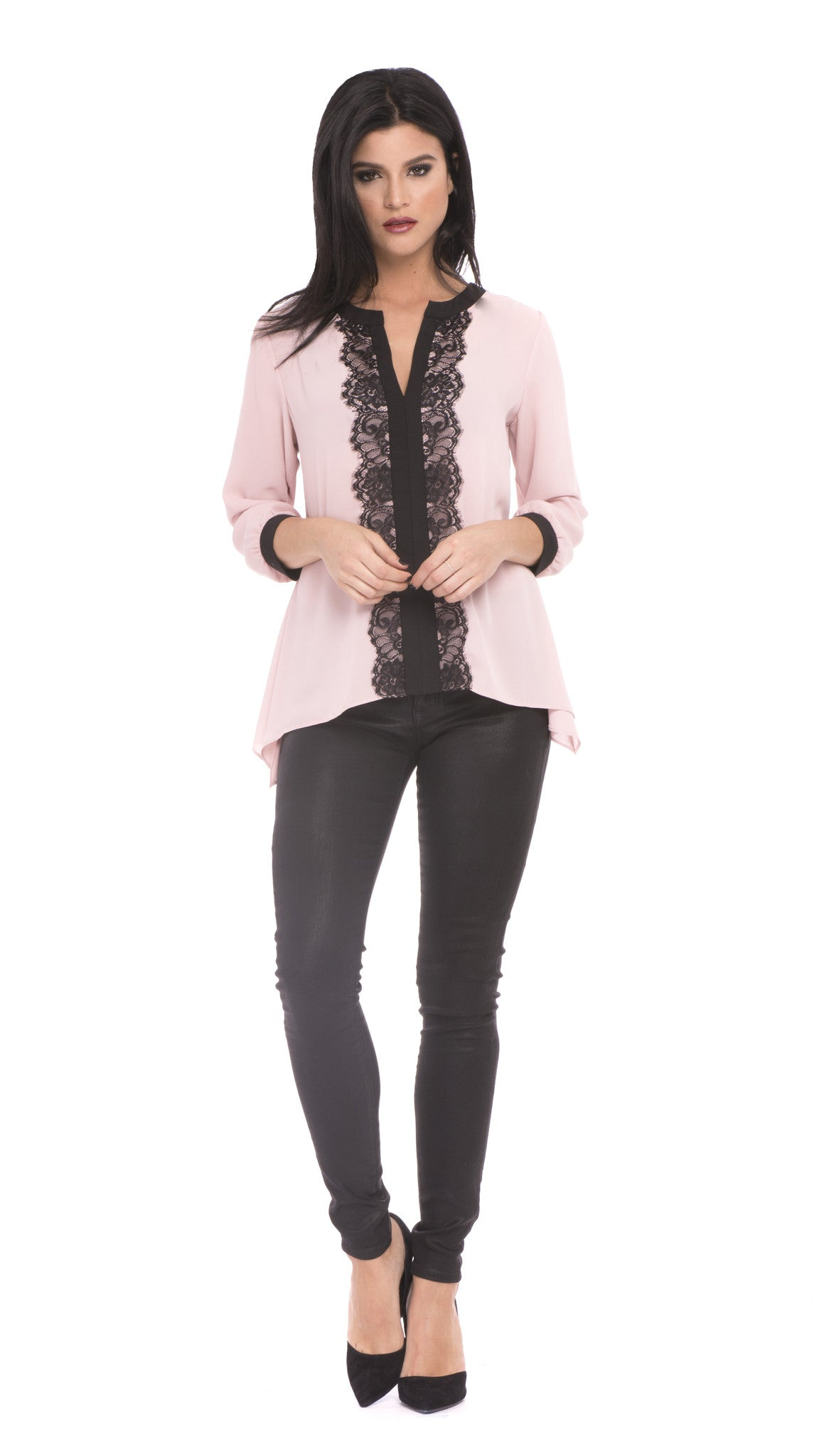 Z Isabella Pink Lace Top