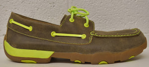 Twisted X Men's Boat Shoe Driving Moc: Bomber/Neon Yellow (MDM0018), Feeders Grain and Supply Inc.