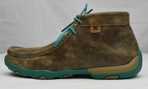 Twisted X Women's Chukka Driving Moc: Brown/Turquoise (WDM0020), Feeders Grain and Supply Inc.