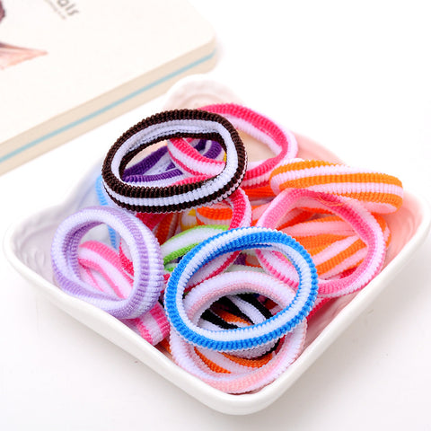 1 pack=30 pcs Newly Style Good Elastic Children Hair Band Kids Dress Scrunchy Colorful Random Baby Hair Accessories
