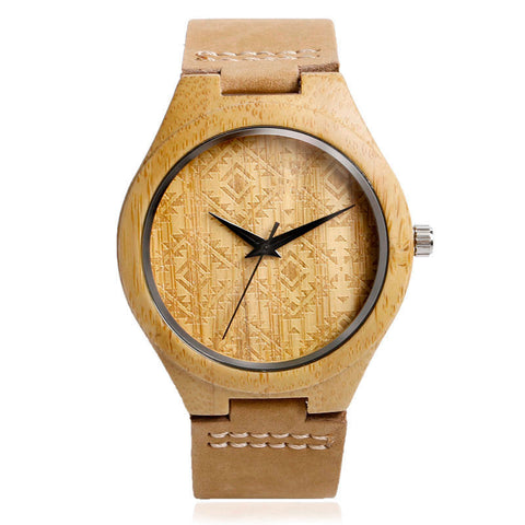 Aztec Pattern Wooden Watch With Leather Band
