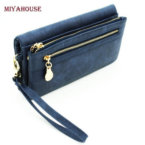 Women Wallets Long Dull Polish Leather