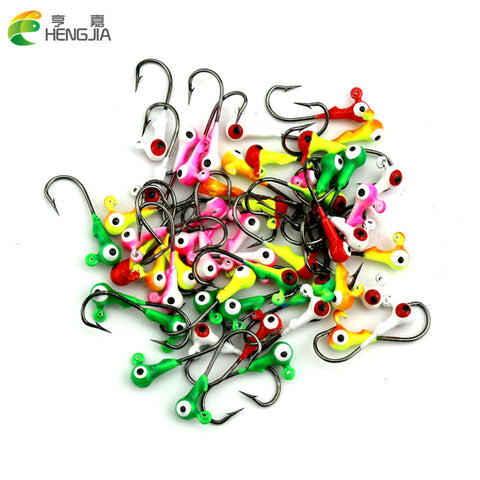 Hengjia 100pcs Jig head Big Eye 1G mixed color Fishing Lead lures Mini headed ho