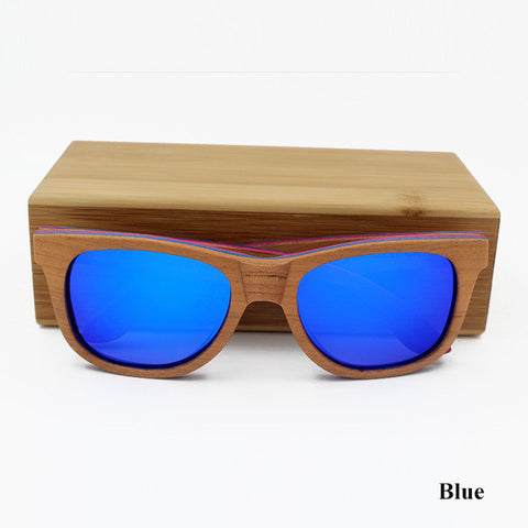 Skateboard Wooden Sunglasses With Colours