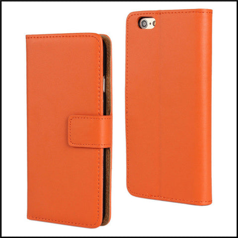 Orange Leather Wallet Case